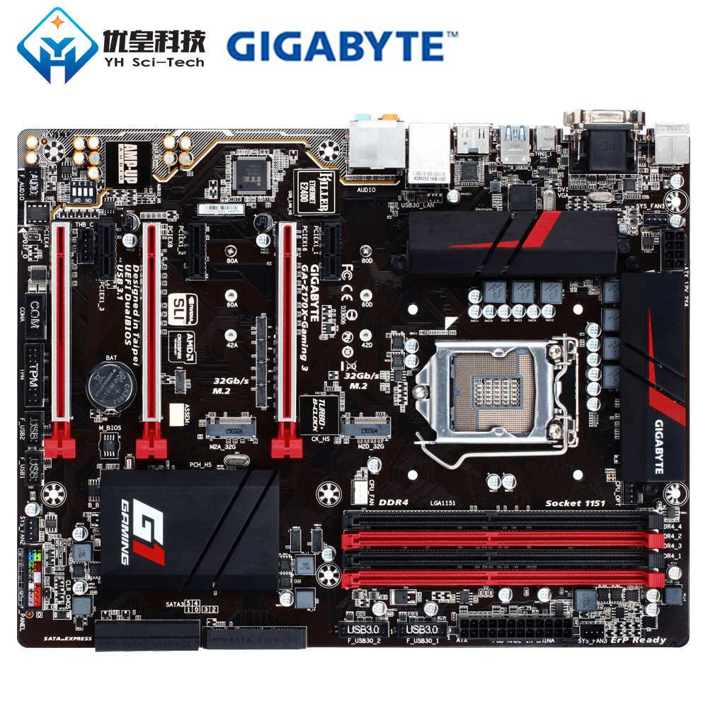 الأصلية المستخدمة سطح اللوحة جيجابايت GA-Z170X-GAMING 3 Z170 LGA 1151 i7 i5 i3 DDR4 64G SATA3 USB3.1 VGA HDMI DVI M.2 ATX