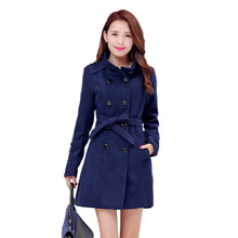 2016 New Sping Winter Woolen Coat Plus Size  Woolen Coat Female Long Paragraph Slim Was Thin Thick  Coat Women C145