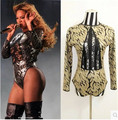New Beyonce Leotard Costume Female Singer Lace Cutout  Ds Dance Stage Show Clothes