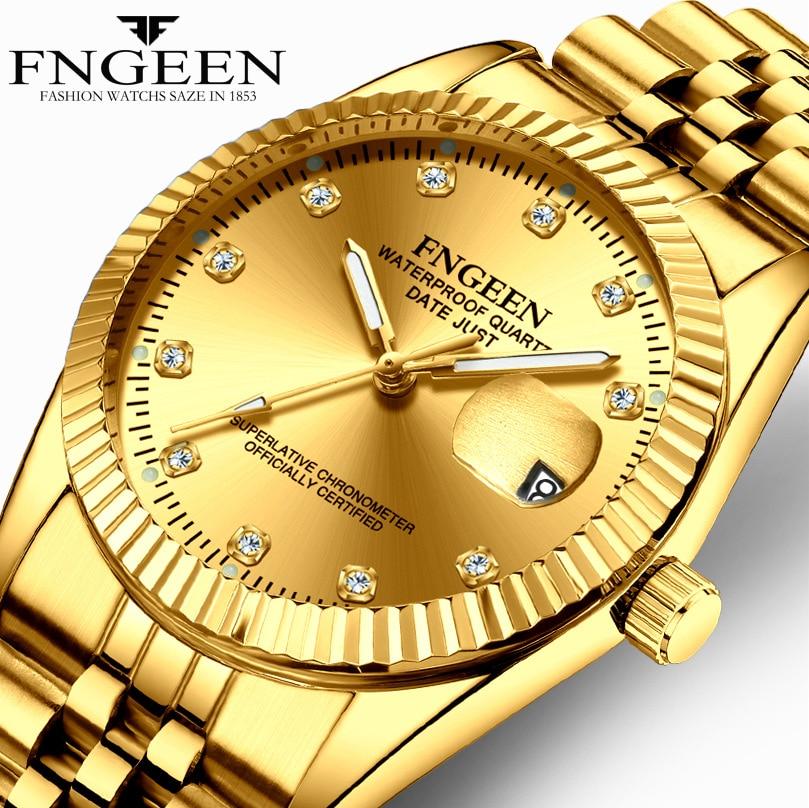 Men's Watches Gold Stainless Steel Quartz Watch Waterproof Date Luxury Brand Male Wristwatch Clock Drop-Ship Relogio Masculino