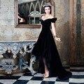Veludo preto Alta Baixa Prom Dresses A Linha Querida Cap manga Curta Frente Longa de Volta As Mulheres vestidos de festa online Personalizado feito