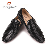 Piergitar 2017 New Handmade Loafers With Black Rivets Fashion Party And Prom Men S Smoking Slippers