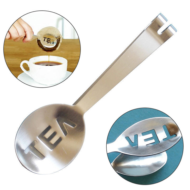 Reusable Stainless Steel Tea Bag Tongs Teabag Squeezer Strainer Holder Grip Metal Spoon Mini Sugar Clip Tea Leaf Strainer