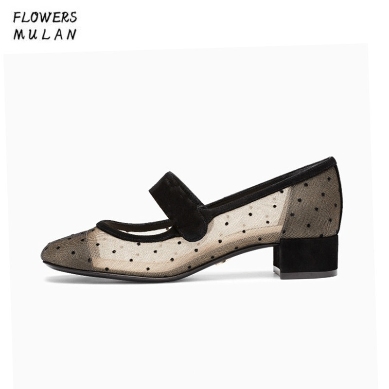 Mixed Color Polka Dot Mesh Upper Girl Nude Shoes Square Toe Black Suede Buckle Mary Janes Shoes Middle Chunky Heel Shoes Women sheer mesh polka dot pants