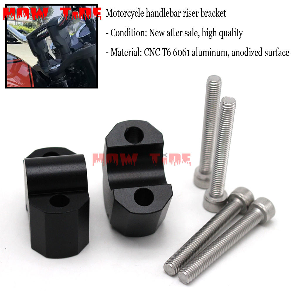 Applicable to <font><b>KAWASAKI</b></font> <font><b>Z900RS</b></font> <font><b>Z900</b></font> <font><b>RS</b></font> 2018 CNC machining handlebar riser clamp extension with bolt adapter image