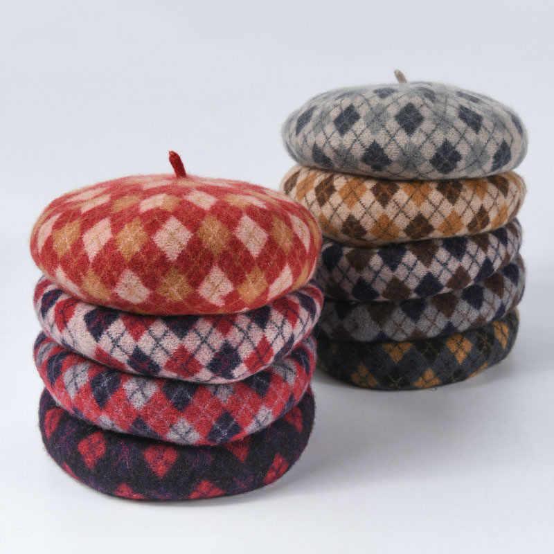 100% шерсть головной убор в клетку шапки женские зимние женские 2019 новые модные Осенние Теплые Восьмиугольные кепки Ретро маляр шляпа