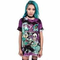 Joyonly 2018 Summer Women Skull Zombie Printed T Shirt Punk Rock Lovers T Shirts Female Harajuku