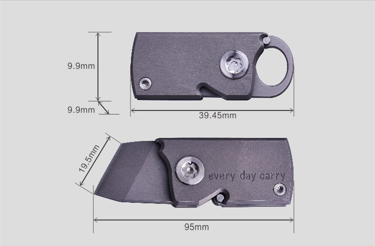 Купить с кэшбэком Pocket Mini Keychain Folding Knife Express Out Of The Box Cutting Knife EDC Outdoor Tc4 Titanium Can DIY