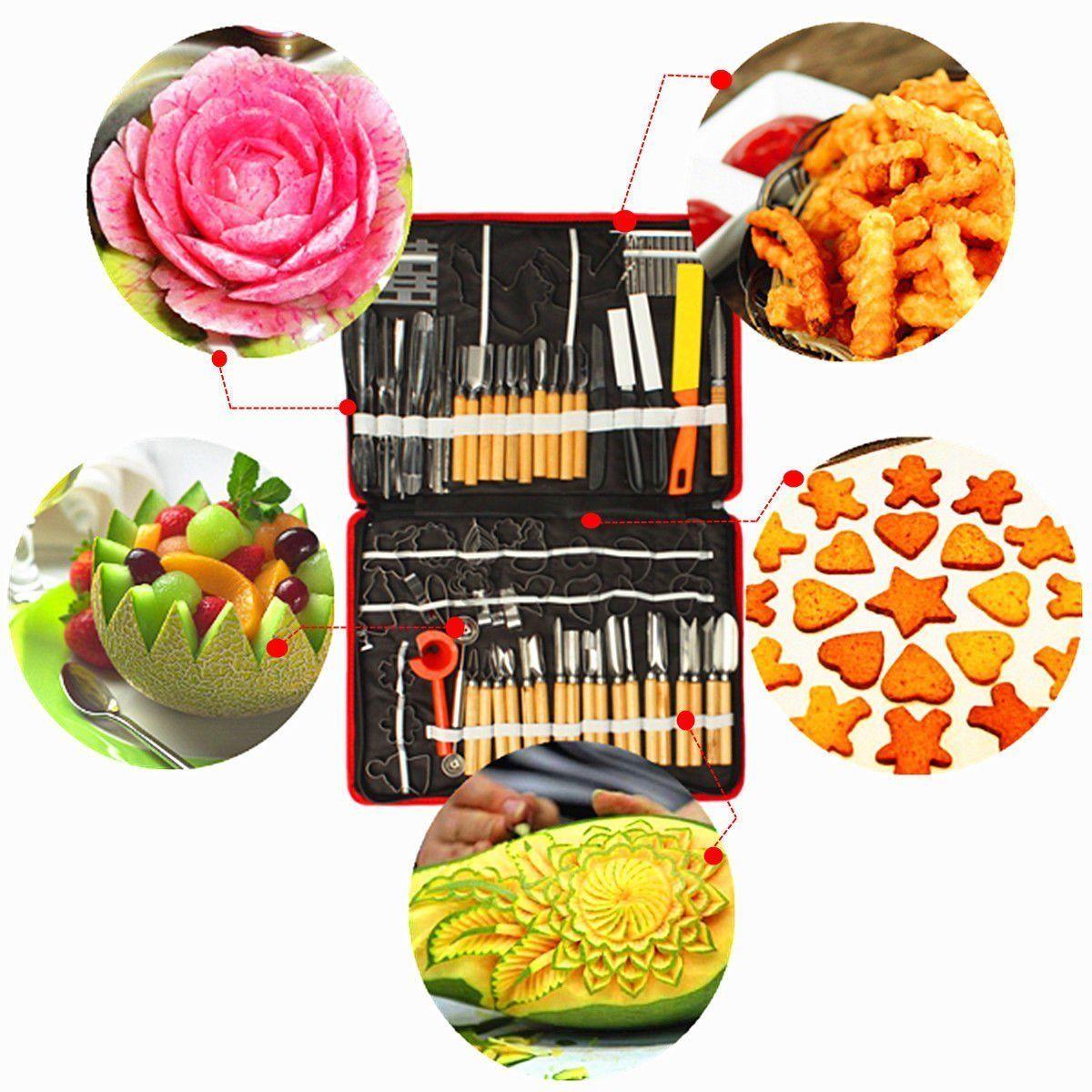 80pcs/Set Portable Vegetable Food Fruit Wood Box Kitchen Carving Tool Kit