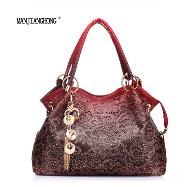 Women s Handbag brand PU leather handbags ladies bag hollow out tassel  gradient color handbags laptop shoulder a5e7696c089ae
