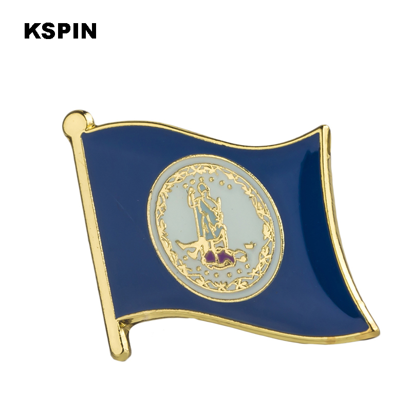 U.S.A Virginia State Badges Flag Badge  Flag Lapal Pin On Backpack Pins For Clothes 1PC