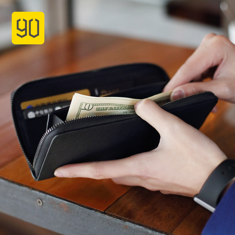 XIAOMI 90FUN Concise Business Long Wallet Safiano Genuine Leather Card Holder Purse for Men Women Casual