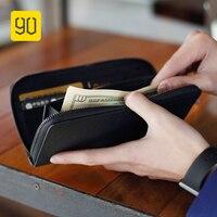 XIAOMI 90FUN תמציתי עסקי ארוך ארנק Safiano אמיתי כרטיס עור בעל ארנק לגברים נשים מקרית מטבעות הערות חשבונות