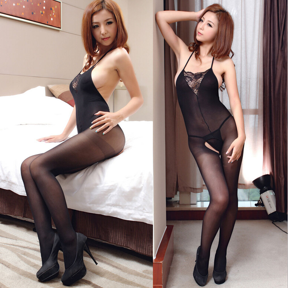 Sexy Lingerie Lace Temptation Perspective Halter Lace Front Back Transparent Hollow Out Costume Strap Siamese Women