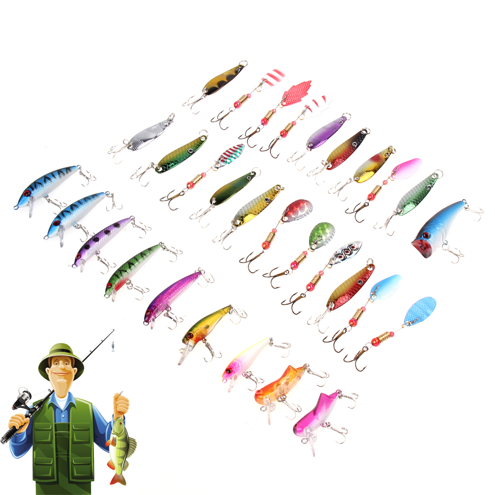 30pcs/lot Fishing <font><b>Lure</b></font> Triangle Barbed Treble Hooks Minnow Popper Spinner Spoon Metal <font><b>Lure</b></font> Artificial 130g Hard Fishing <font><b>Lures</b></font>