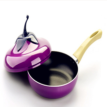 2017 Hot Sale 20cm non-stick frying pan home fashion eggplant shape milk pot Aluminum Cookware Gas Grill Pan 4 colours Available