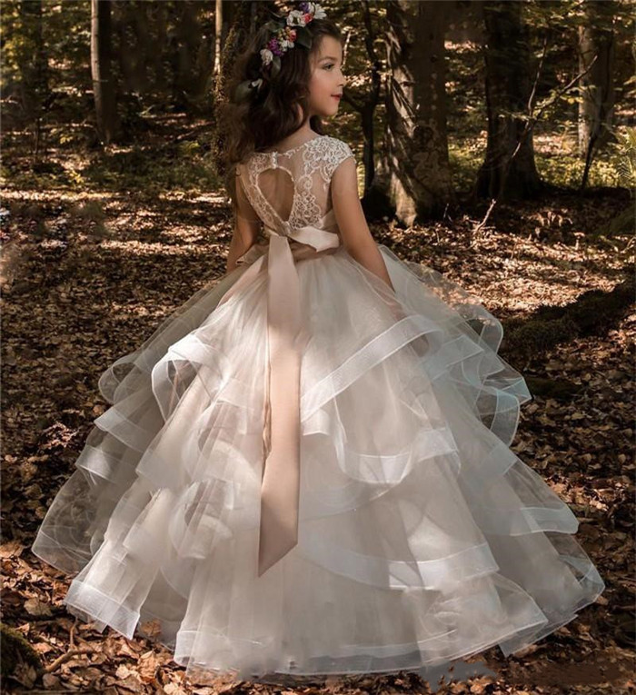 New Beige Ruched Organza   Flower     Girls     Dresses   for Wedding Lace Beading Kids First Communion   Dress   Pageant Gown Custom Made Size