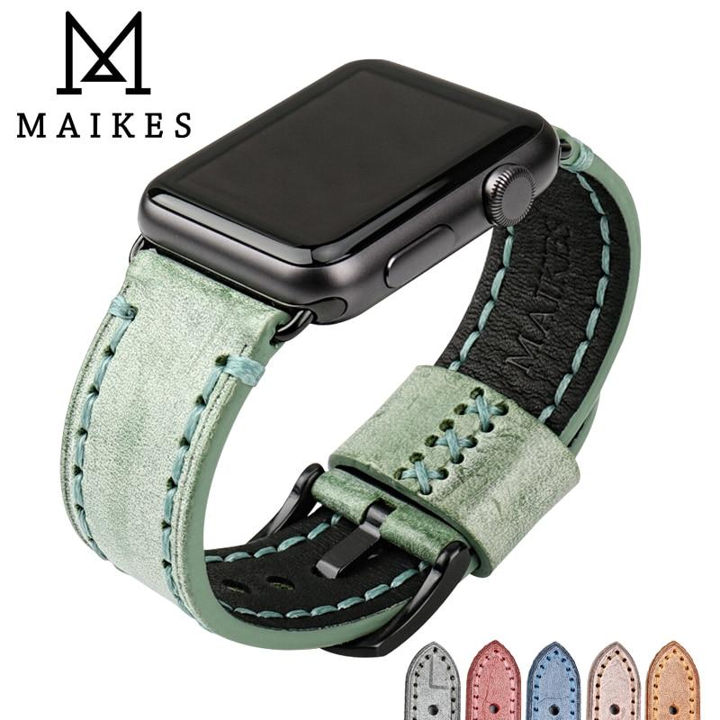 MAIKES Spécial Bracelet En Cuir Remplacement Pour Apple Montre Bande 44mm 40mm/42mm 38mm Série 4 3 2 tous les Modèles Montre Bracelet