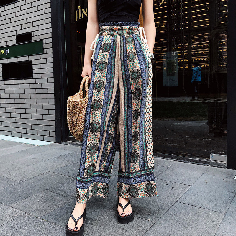 ilstile 2018 Women Floral Print Split Casual Loose Chiffon Pants BOHO Summer Holiday High Waist Wide Leg Pants Thailand Trousers