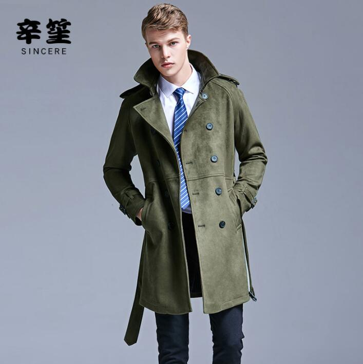 Mens Trench Coats Man Double-breasted Long Coat Men Clothes Slim Fit Overcoat Long Sleeve 2020 Spring Autumn New Designer Belt