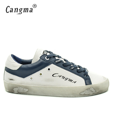 CANGMA Designer Brand Sneakers Men Superstar Shoes Casual Handmade Genuine Leather White Bass Breathable Male Shoes Plus Size