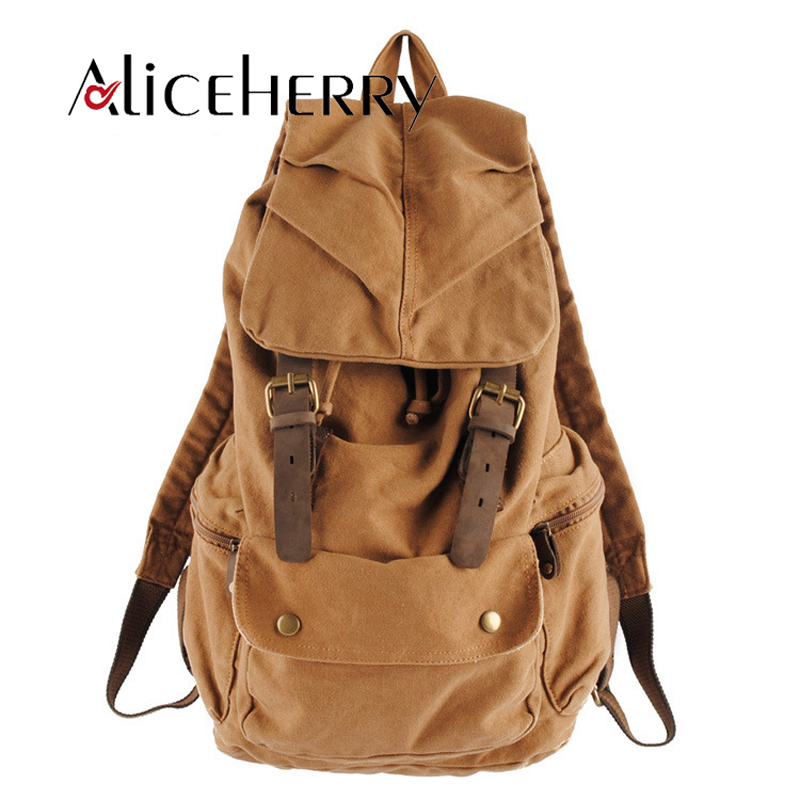 Men Large Capacity Canvas Backpacks Vintage School Travel Bag Women Mochilas Leather Laptop Backpack Rucksack Khaki Army Green zuoxiangru vintage canvas women men backpack army style notebook men rucksack military 15inch laptop school backpacks women