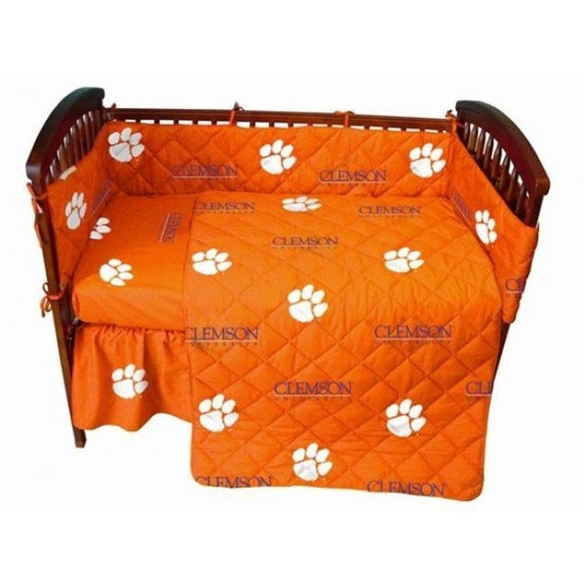 College Covers CLECSFSWPR Clemson Tigers Baby Crib Fitted Sheet Pair White striped fitted sheet