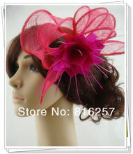 Women Sinamay Feather flower Fascinator Hair Clip Cocktail Hat Headwear for Wedding Church Ascot Race Tea