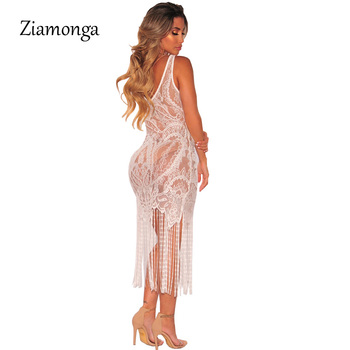 Ziamonga Sexy See Through Lace Bodycon Dress Women V-Neck Strap Tassel Maxi Dress Summer Party Long Camis Dress Sexy Clubwear 1