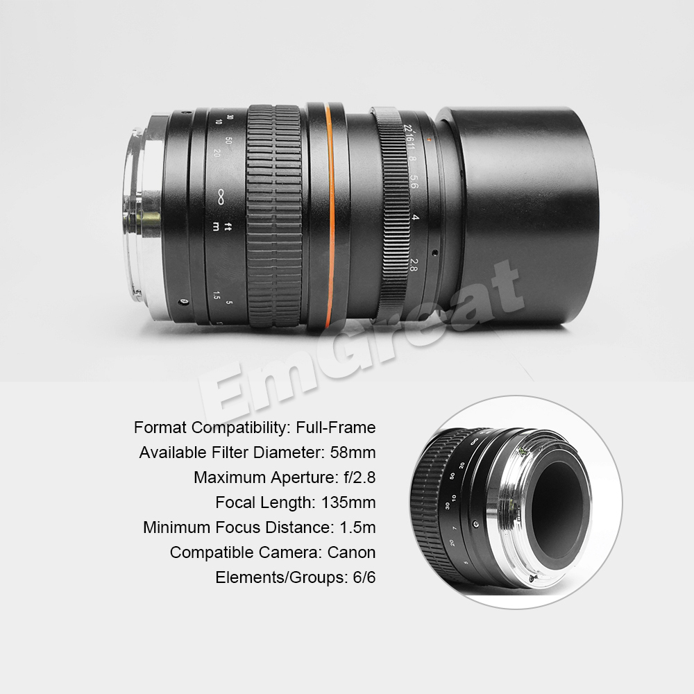 Kelda 135mm F2.8 Full Frame Ultra Low Dispersion Ed Fixed Focus Lens ...