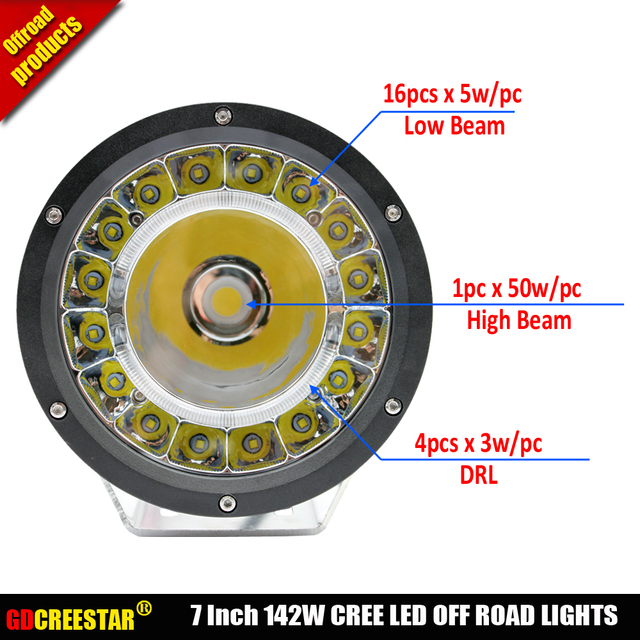 Hot New 7 Inch 142W 12V 24V LED Work Light Spot/Flood Round LED Off road Light Lamp Worklight for Off road Motorcycle Car Truck