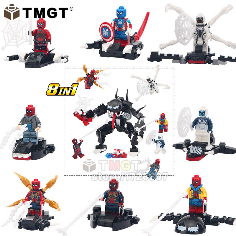 Blocks Model Building Beautiful 8 In 1 Legoings 8pcs/lot Building Blocks Marvel Super Heroes Venom Captain America Zombie Spiderman Action Figures Child Toys