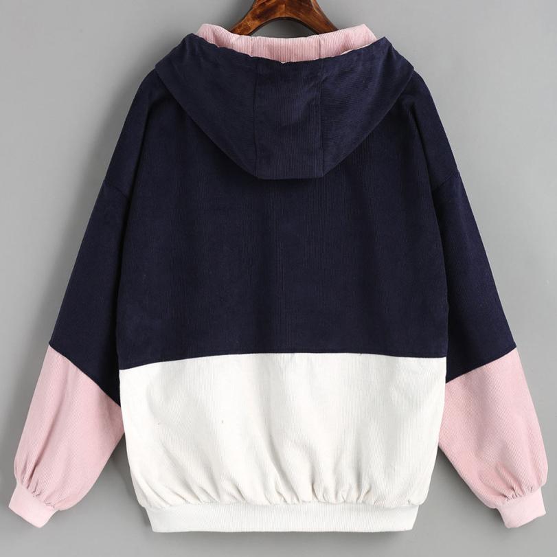 Bella Philosophy color block Long Sleeve Corduroy Women jacket Patchwork Autumn Jacket  jeans jacket women plus size women coat 4
