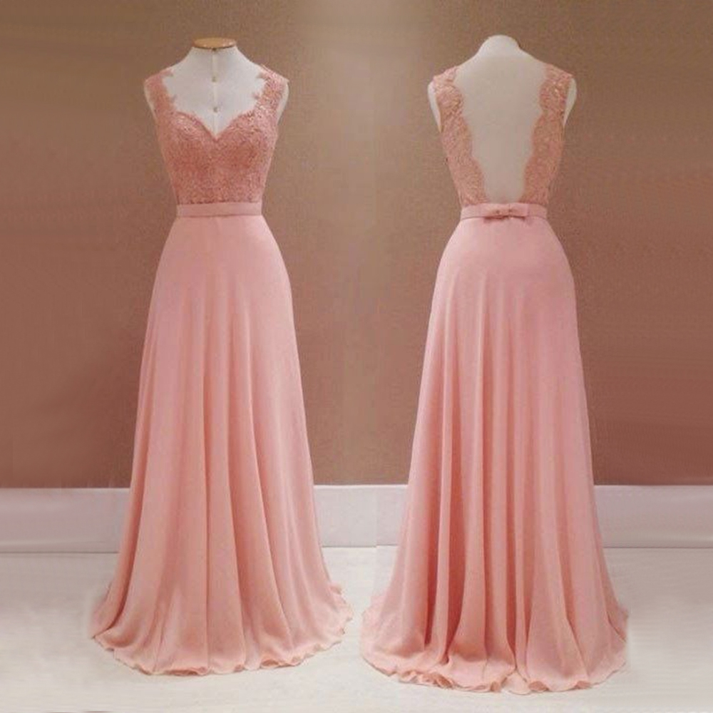 Hot Selling Pink Chiffon Long   Bridesmaid     Dresses   Sheer Back A Line Lace Top Cheap Wedding Party Gowns 2019 Robe De Soiree