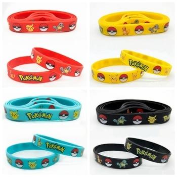 40pcs New Trendy Charms Game Wristband Pokemon Pikachu Silicone Bracelet Cartoon Bangles Kids Birthday Party Decoration Gift To