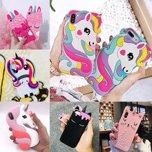 3D Cartoon Liquid Unicorn Rainbow Horse Cat Case For iPhone 8 Soft Silicone Cases 7 Plus 6 6S X Christmas Cover