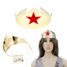 Wonder Woman Hair Accessories Headband Cosplay Jewellery Tiaras Crowns Hair Clip Hairband Female Headdress Hairpin Hair Combs(China)