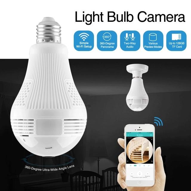SANNCE 360 degrés 960 p Sans Fil IP Caméra Ampoule Lumière FishEye Intelligent Sans Fil CCTV Caméra 1.3MP Panoramique Sécurité WiFi Caméra