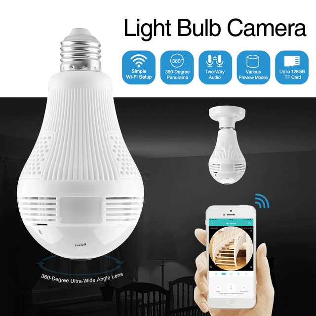 Sannce 360 Graden 960P Draadloze Ip Camera Lamp Licht Fisheye Smart Draadloze Cctv Camera 1.3MP Panoramisch Beveiliging Wifi Camera