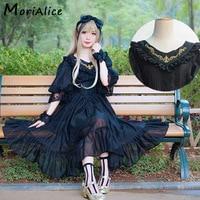 Harajuku Mori Fille Lolita Robe Femmes Vêtements Solide Dentelle Broderie Antique Retour Arc Grande Balançoire Femelle Princesse Robes V103