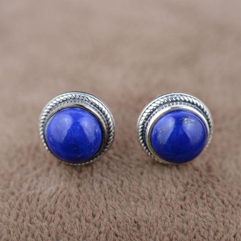 S925 silver inlaid natural lapis lazuli handmade earrings retro palace earrings
