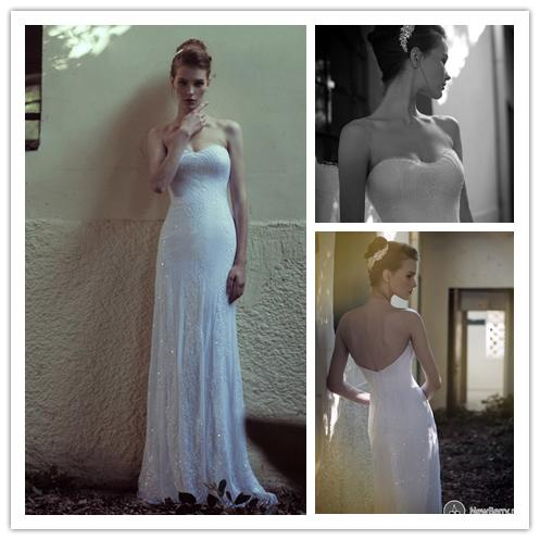 6cc52fb7ca3a Striped decorative sequins sweetheart sleeveless A-Line open back luxury  lace much handmade wedding dress 2014 XK-374