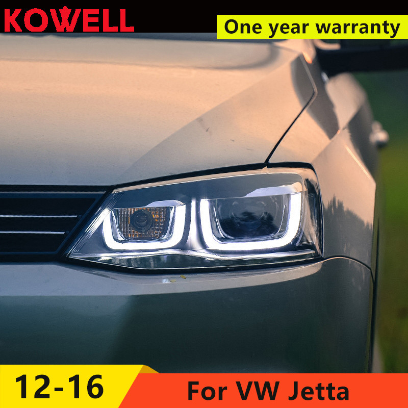 KOWELL Car Styling For for VW Jetta 2012 2017 LED head light  LED Headlight DRL Lens Double Beam H7 HID Xenon bi xenon lens-in Car Light Assembly from Automobiles & Motorcycles    1