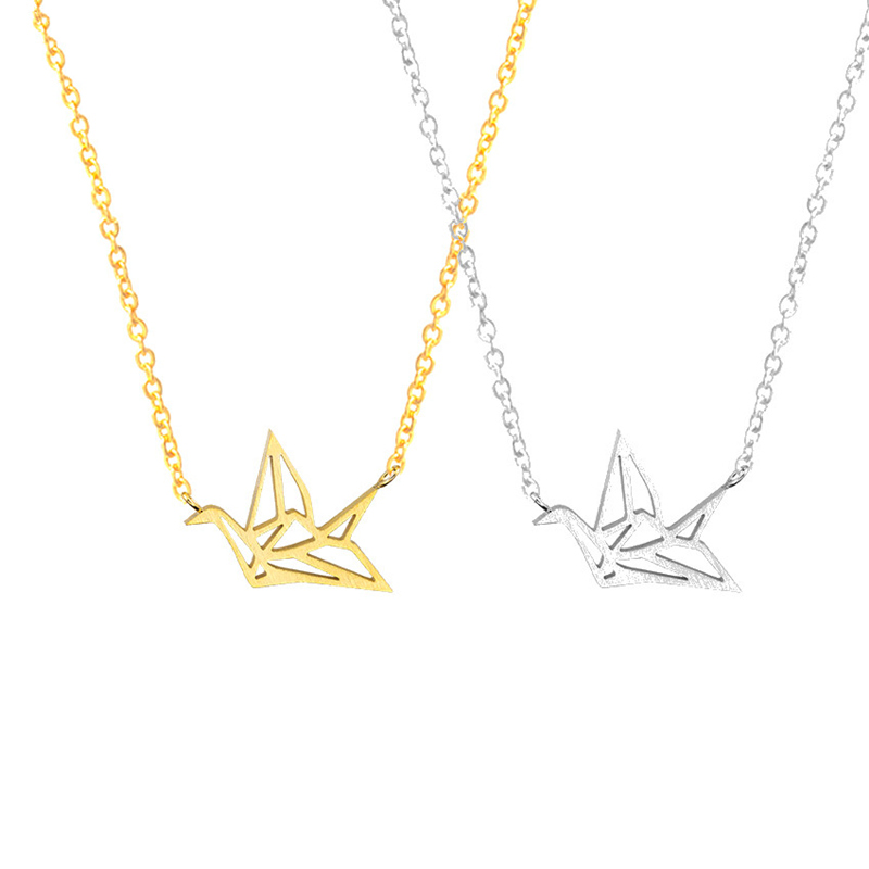 Aliexpress buy origami paper crane necklaces pendants aliexpress buy origami paper crane necklaces pendants friendship jewelry stainless steel chain lucky best friend necklace gift for women from reliable mozeypictures Choice Image