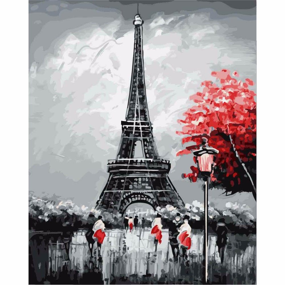 DEYI 40 50cm Paris Eiffel Tower Modular Picture Tiger Painting By Numbers On Canvas DIY Coloring