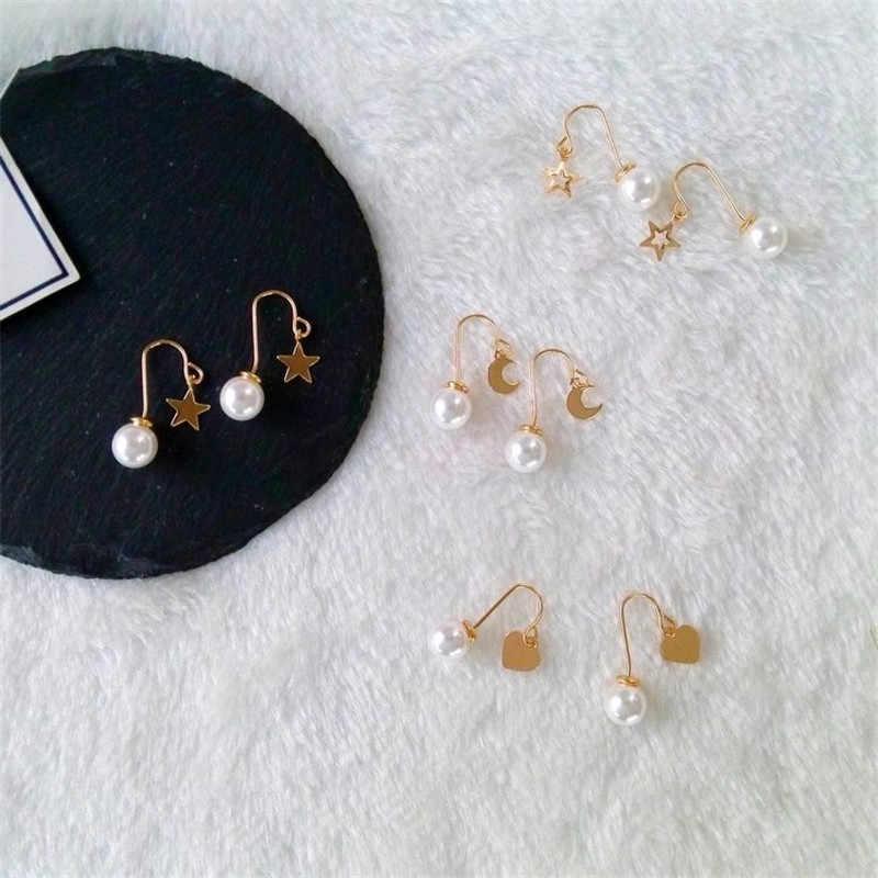 Pendientes de corazón de estrellas de moda minimalista clásico para mujer