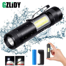 Portable LED flashlight 4 lighting mode Q5 + COB mini black waterproof LED flashlight using AA, 14500 battery lighting hugsby p2 190 lumen 3 mode led flashlight 1 aa 1 14500