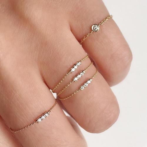 Authentische 100% 925 sterling silber AAA + zirkonia lünette cz charme cz bar delicate dainty dünne kette einfache mädchen ring