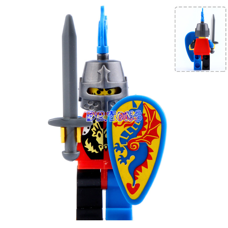 DR.TONG Super Heroes Medieval Castle Blue Knight Heavy Shield with Weapons Figures Building Blocks Figure Bricks Child Toys 9812 настенный газовый котел vaillant turbo tec plus vu 202 5 5