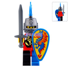 DR TONG Super Heroes Medieval Castle Blue Knight Heavy Shield with Weapons Figures Building Blocks Figure
